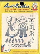 Sunbonnet Sue & Overall Bill Aunt Martha's Hot Iron Transfers #3795 - $3.39