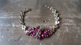 "Vintage Gold Tone Purple Rhinestone Bracelet 7"" - $15.83"