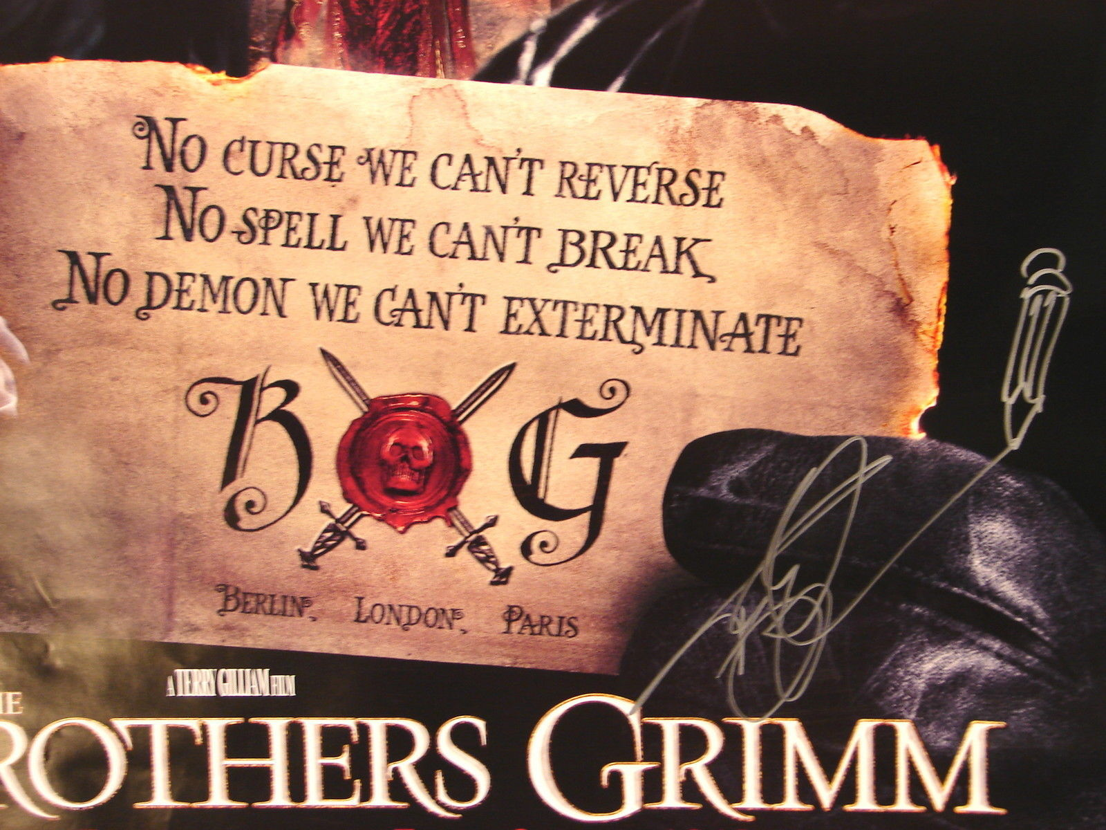 2005 THE BROTHERS GRIMM Movie POSTER 27x40 SIGNED TERRY GILLIAM Double Sided