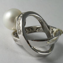 AMAZING SOLID 18K WHITE GOLD RING DIAMOND AND AUSTRALIAN PEARL DIAMETER 1.2 CM image 4