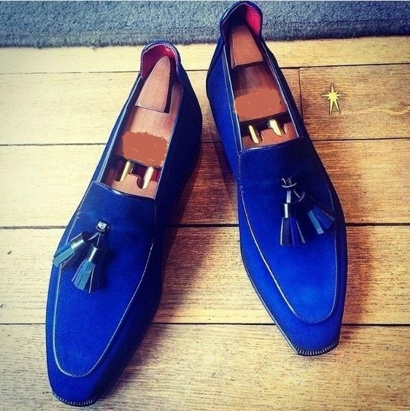 Handmade men leather shoe, royal blue loafer for men, formal suede leather shoes