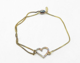 ALEX & ANI 925 Silver - Petite Gold Plated Open Love Heart Chain Bracelet- B4204 image 2