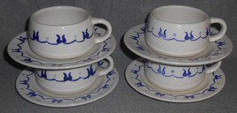Set (4)  Metlox Poppytrail PROVINCIAL BLUE PATTERN Cups/Saucers CALIFORNIA - $15.83