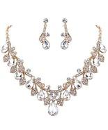 BriLove Women's Wedding Bridal Crystal Teardrop Cluster Leaf (Clear Gold... - $18.83