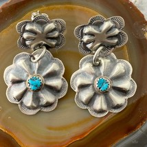 Joann Begay Sterling Silver Turquoise Repousse Floral Drop Earrings For ... - $95.00