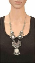 Silver-Plated Mirror Afghani Necklace Choker for Women and Girls a299 - $19.79