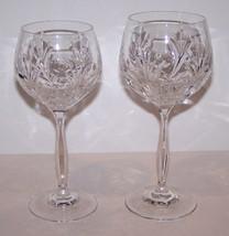 "Pair Signed Noritake Crystal Rothschild 7 1/4"" Wine Goblet & 7 5/8"" Water Goblet - $72.85"