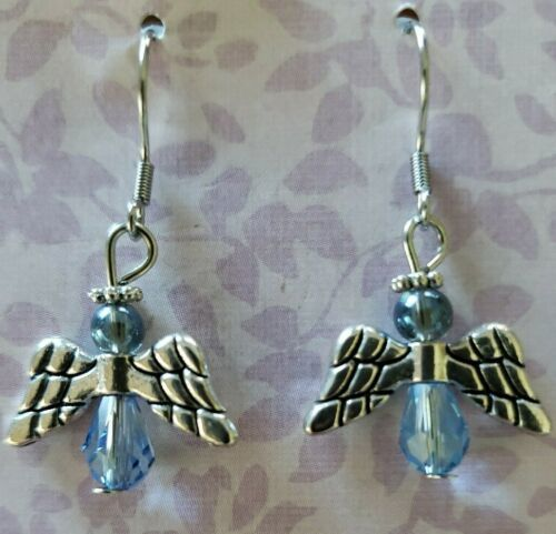"Primary image for Angel Earrings ~ Silver w/Blue Bead ~ Alloy ~ 1.5"" Dangle Earrings ~ 99"