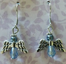 "Angel Earrings ~ Silver w/Blue Bead ~ Alloy ~ 1.5"" Dangle Earrings ~ 99 - $15.00"