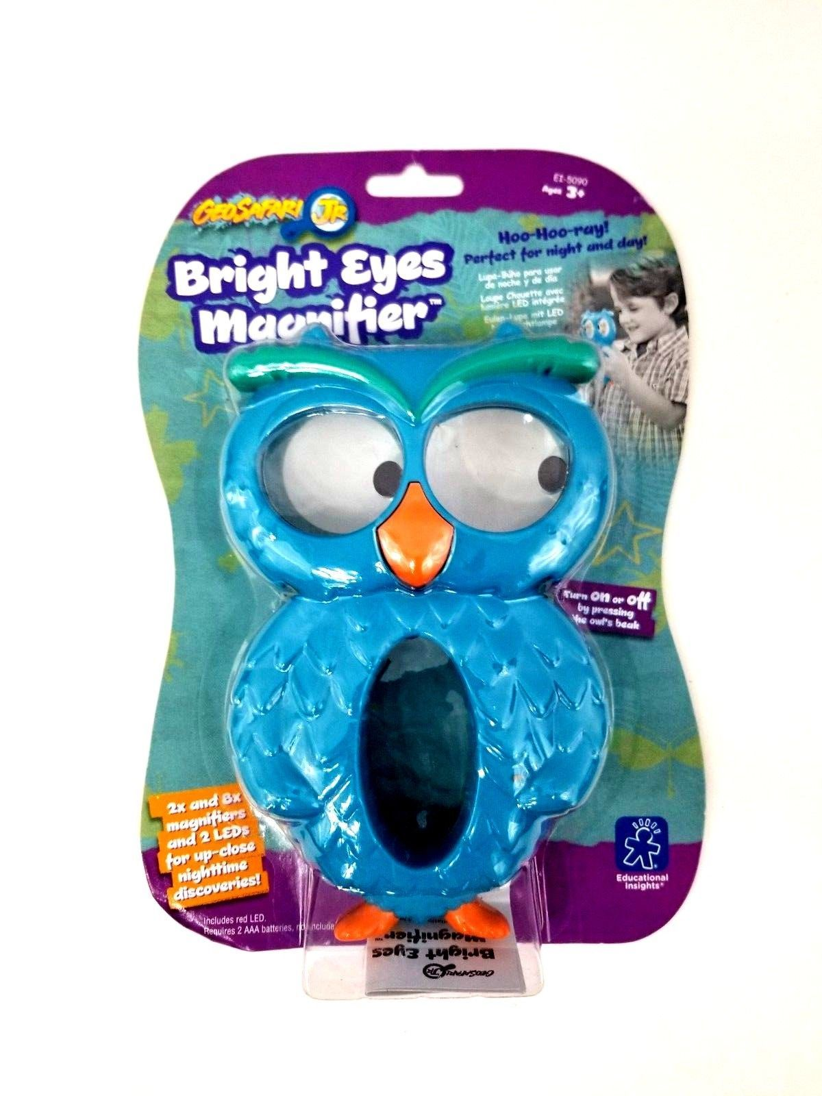 Geosafari JR Bright Eyes Magnifier Owl 2x and 8x Magnifiers and 2 LEDs for Night