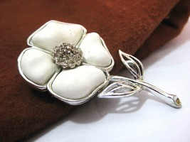Vintage Flower Brooch Pin Silver with Molded White Petals signed CORO - $4.90