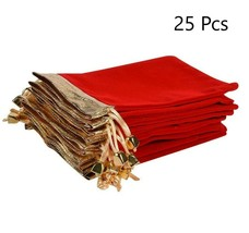 Red Velvet Bags Christmas Drawstring Pouches Wedding Favor Boxes Candy G... - $29.02