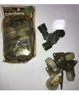 ANTIQUE SET OF 3 SMALL Brass SWIVEL CASTERS & 8 Melard Free Wheeling Cas... - $18.69
