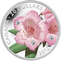 2012 Canada $20 Swarovski Crystals - Rhododendron .9999% Fine Silver Coi... - $87.50