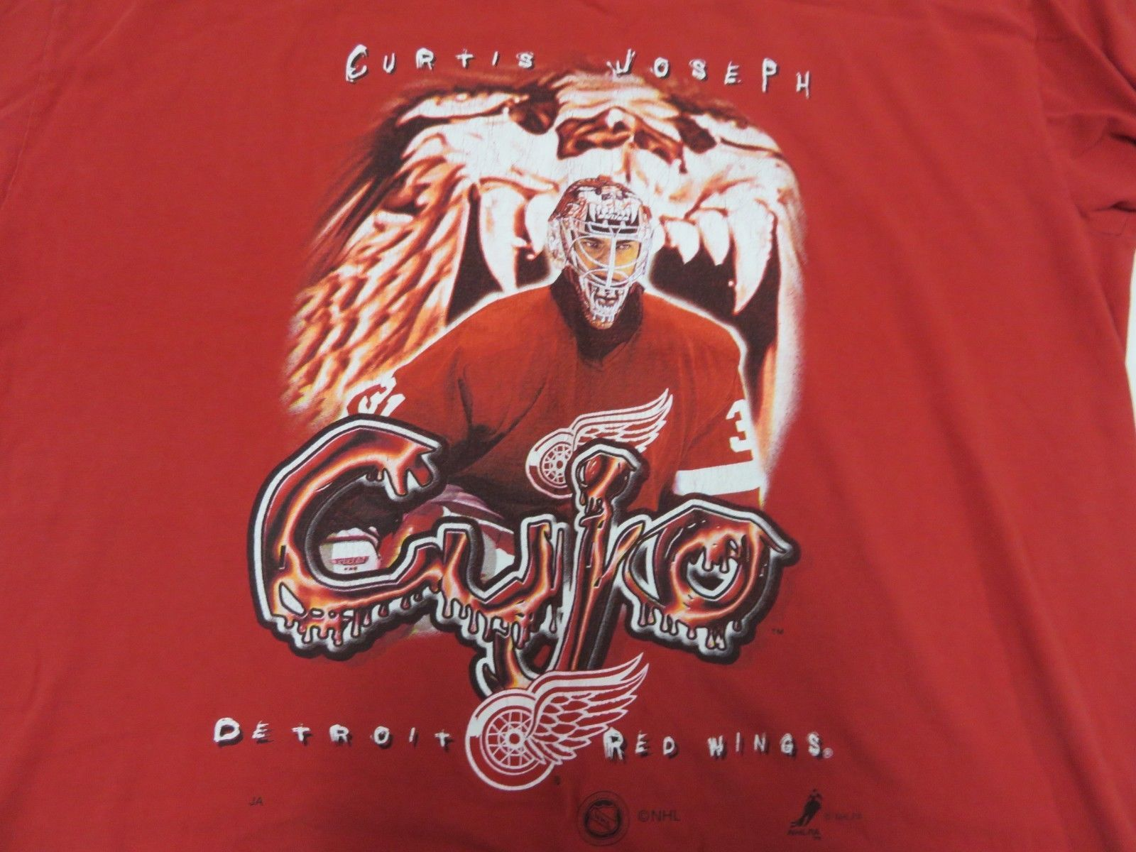 NHL Curtis Joseph Detroit Red Wings Graphic Hockey Red T-Shirt Men's Size  image 2