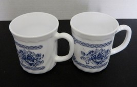 Vintage Arcopal Honorine Coffee Mugs Cups Floral Design France Blue Two - $12.75