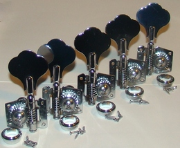 Vintage Style Tuners, Chrome, For Five String Bass Guitar, 4 Right & 1 Left - $39.95