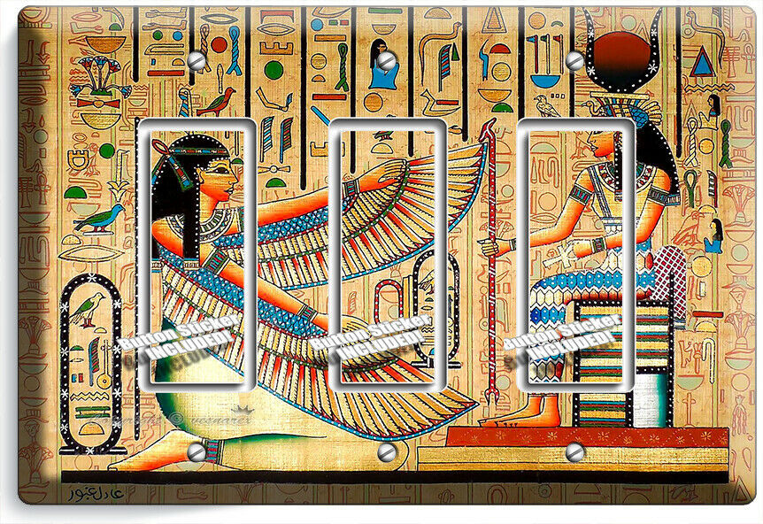 ANCIENT EGYPTIAN GODDESSES MAAT ISIS 3 DECORA LIGHT SWITCH PLATES WALL ART DECOR