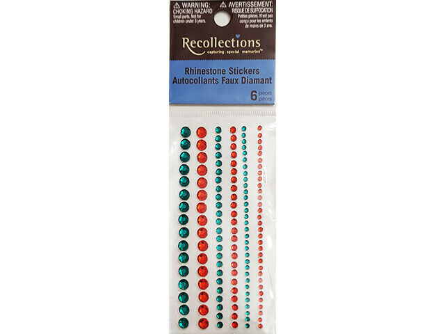 Recollections Red and Green Adhesive Rhinestones, 3 Sizes #456018
