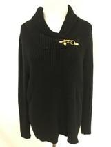 Ralph Lauren Women's Black Sweater Metallic Gold Buckle Shawl Collar Size L - $12.95