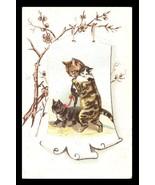 Cats Kittens Art Print Card Scroll Design Anthropomorphic Antique Advert... - $34.99