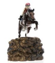 Hagen-Renaker Specialties Ceramic Horse Figurine Girl Show Jumping a Rock Wall image 2