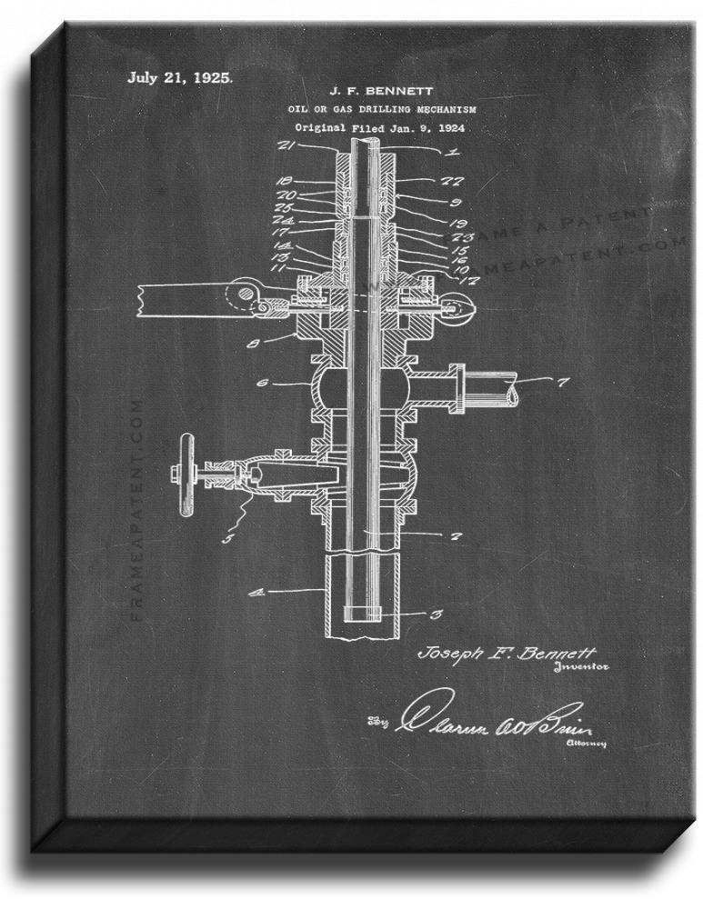 Primary image for Oil or Gas Drilling Mechanism Patent Print Chalkboard on Canvas