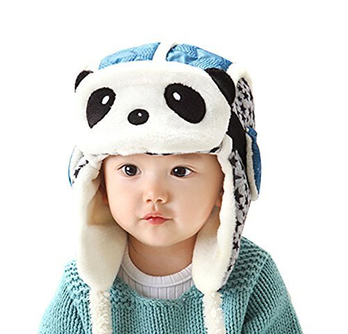 Cute Earflap Baby Hats Winter Kids Hats with Panda Mask Blue, 9-36 Months