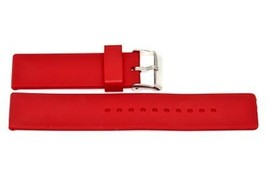 16MM Red Smooth Rubber Silicone Watch Band Strap - $12.38