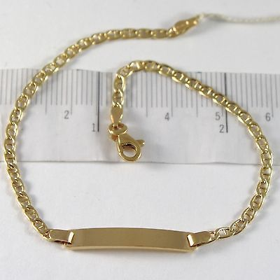 BRACELET YELLOW GOLD 750 18K, JERSEY MARINA AND PLATE FOR INCISION, 19 CM