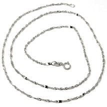 18K WHITE GOLD CHAIN, 1.5 MM SINGAPORE ROPE SPIRAL ALTERNATE LINK, 15.7 INCHES image 1