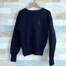 Polo Ralph Lauren VTG 90s Chunky Wool Sweater Blue Monogram Logo Womens ... - $44.54