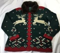 RALPH LAUREN Zip Cardigan Sweater Hand Knit Wool Reindeer Faux Fur Colla... - $24.92 CAD