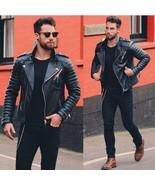 Men Genuine Lambskin Quilted Real Leather Motorcycle Slim fit Biker Jack... - $69.99+