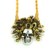 "Han Cholo Silver Gold Plated Medusa Skull Pendant with 26"" Rope Chain NEW image 3"