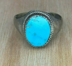 Vintage Navajo Sterling Silver Turquoise Ring Sz 10.75 - $715,90 MXN