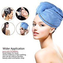 2 Pack Hair Towel Wrap Turban Microfiber Drying Bath Shower Head Towel with Butt image 2