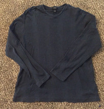 EUC Alfani Men's Cotton Long Navy Blue Sleeve Sweater Texture Top Shirt ... - $14.03