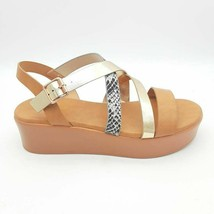 Bamboo Womens Bonus 20 Slingback Sandals Multicolor Brown Straps 8.5 EU 38.5 New - $17.80