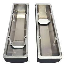 "Chevy Fabricated Aluminum Tall Valve Covers 1/4"" Rail SBC 327 350 383 400 BLACK image 7"