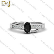 Oval Shape Black Diamond Engagement Ring For Womens Classic Wedding Ring... - €73,18 EUR+