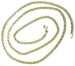 """18K YELLOW GOLD CHAIN TYGER EYE LINKS THICKNESS 3mm, 0.12"""" LENGTH 45cm, 17.7""""  image 3"""