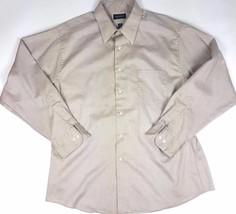 Van Heusen Men Sz 17.5 34/35 Tan Brown Long Sleeve Button Down Dress Shi... - $4.99