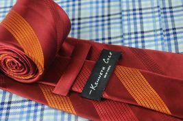 Kenneth Cole Men's Tie Ruby & Orange Striped Woven Silk Necktie 60 x 3.5 in. image 4