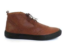 Rachel Comey Brown 11 44 Croc Textured Leather Branch Viper Lace Up Ankl... - $99.99