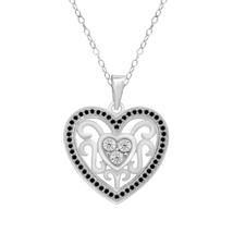 0.13 Cttw Black Simulated Diamnond White Gold Over Heart Pendant W/ Chain - €64,00 EUR