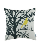 "CaliTime Throw Pillow Cover Vintage Birds Branch 18""X18"" Black Tree Yell... - ₨843.88 INR"