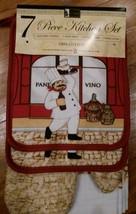 "FAT CHEF KITCHEN SET Red ""Pane Vino"" Wine Bistro Cook Towel Mitt Pothold... - $17.99"