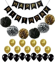 BLACK and GOLD PARTY DECORATIONS - Perfect Adult Birthday Decorations | ... - $17.85