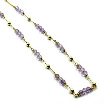 """18K YELLOW GOLD 18"""" 45cm NECKLACE FACETED PURPLE AMETHYST 3mm BALLS, ROLO CHAIN image 2"""